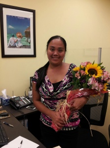 Our travel agent who has been amazing. We presented her with a thank you bouquet in appreciation of her excellent customer service. Thanks Jennifer!